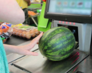 Self-checkout registers perform well with packaged goods with clear barcodes and labeling.