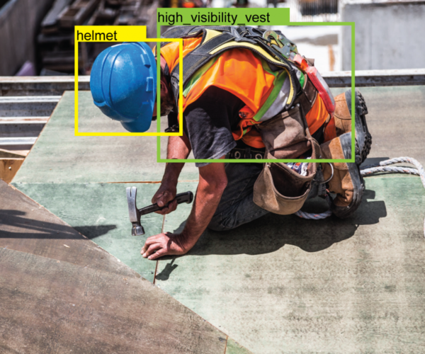 PPE detection at a construction site